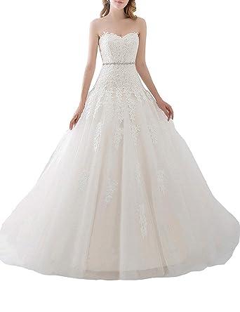 JoyVany Luxury Wedding Dresses Princess Lace 3/4 Sleeves Elegant ...