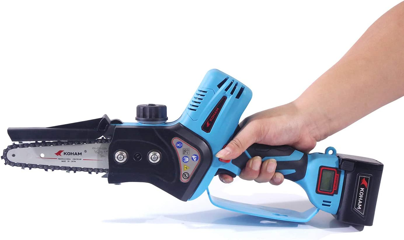 KOHAM Professional 4 inch Electric Cordless Chainsaw For Wood Tree Cutting Battery Saws with 2 Lithium-Ion 25V
