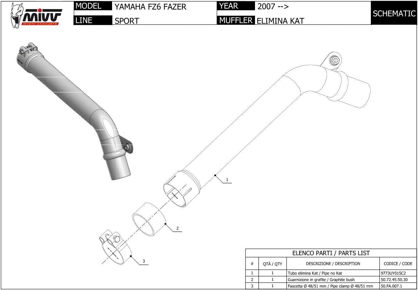 New UY.015.C2 Tube Sans Kat MIVV De-Kat Inox pour Fz6 Fz6 Fazer 2008 08
