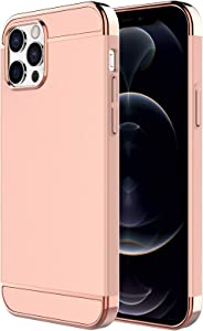 iPhone 12 Pro Max Case,RORSOU 3 in 1 Ultra Thin and Slim Hard Case Coated Non Slip Matte Surface with Electroplate Frame for Apple iPhone 12 Pro Max (6.7