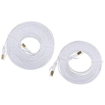 Homyl 2 Piezas Cable de Parche Plano CAT7 Ethernet Ancho de Banda Chapado Dorado Alambre Herramientas