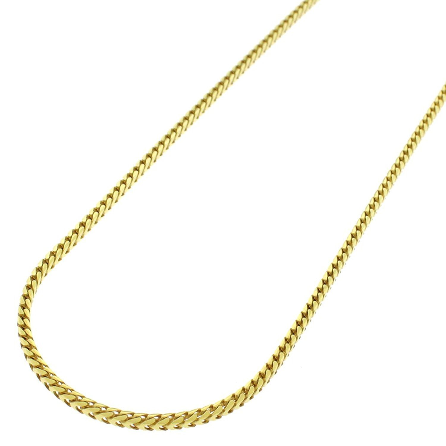 14k Yellow Gold 1.5mm Solid Franco Square Box Link Necklace Chain 16'' - 24'' (16)