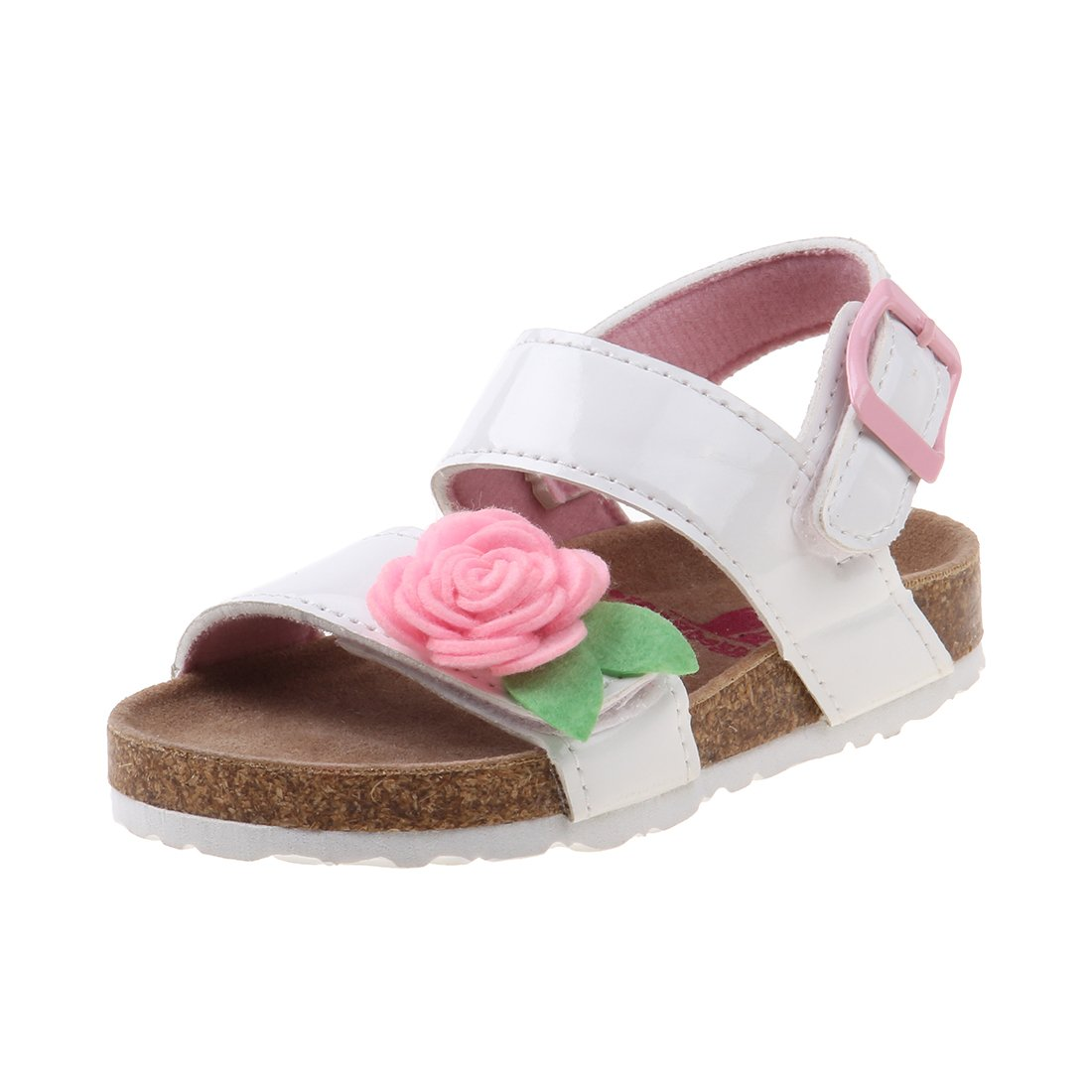 Rugged Bear Girls Cork Sandal with Flower, White Patent, 10 M US Toddler'