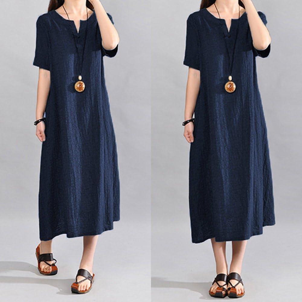 Usstore Women Cotton Linen Boho Straight Dress Casual Plus Size Loose V-Neck Short Sleeve Soft Breathable Maxi Dress