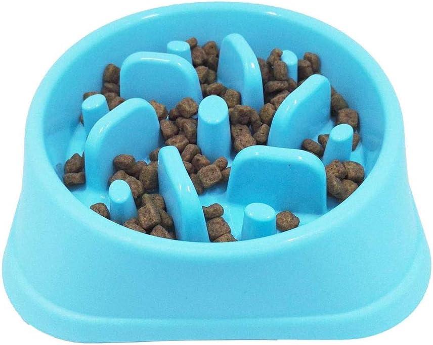 YFOX Tazón de alimentación Lenta para Perros y Gatos, Antideslizante, Materiales ecológicos, ralentizar la Ingesta de Alimentos, alimentador Lento para Mascotas 18.5x45cm (Azul)