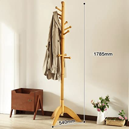SWEET&HONEY Cloth hanger rack stand Tree hat hanger holder Free standing Solid wood coat rack Floor hanger For bedroom Living room Hall-10-hooks-T ...