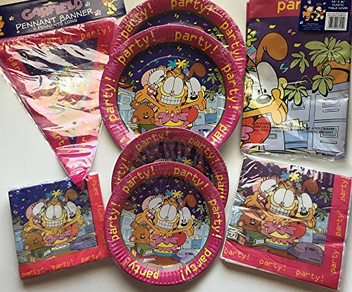 GARFIELD Party Bundle Pack for Party of 16 includes Plates Napkins Table Cover -