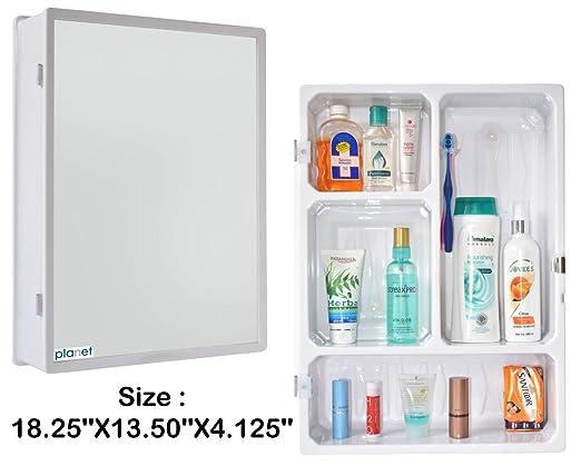 Planet Forever High Grade Multipurpose Bathroom Slim Cabinet with Mirror - White