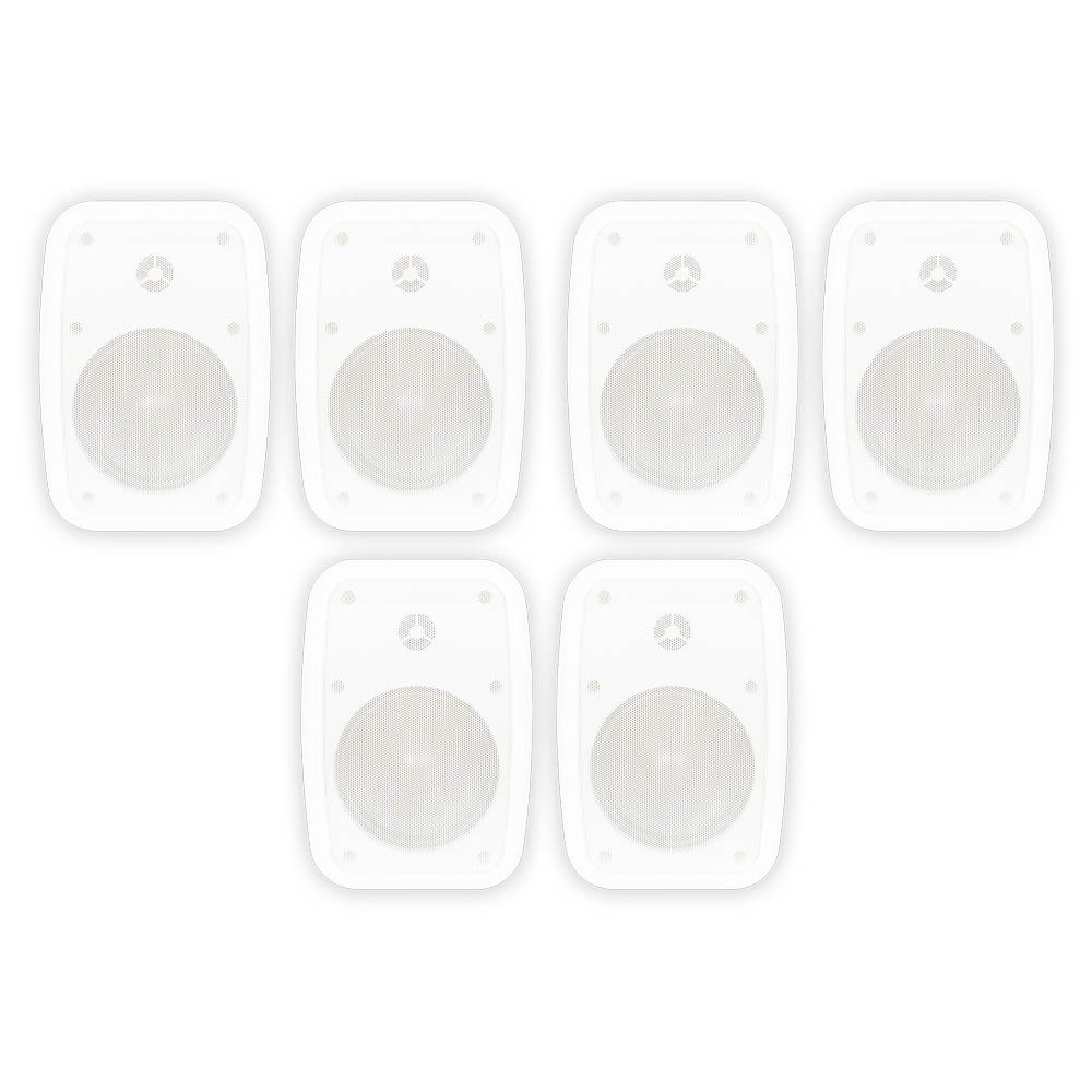 Theater Solutions TS525ODW Indoor or Outdoor Speakers Weatherproof Mountable White 3 Pair Pack