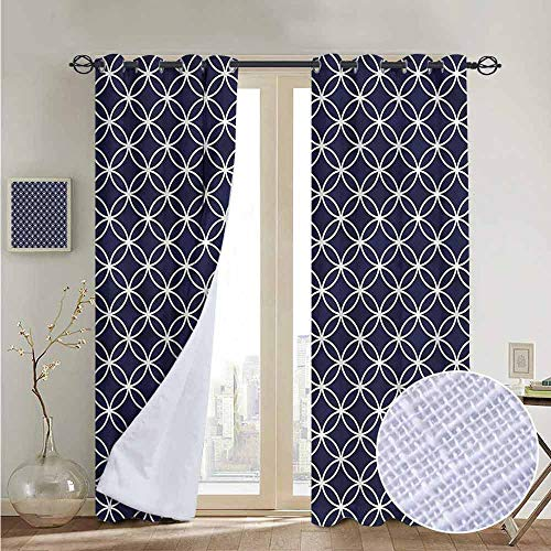 - NUOMANAN Print Curtains for Bedroom Curtain Indigo,Trellis Inspired Circles,Grommet Window Treatment Set for Living Room 84