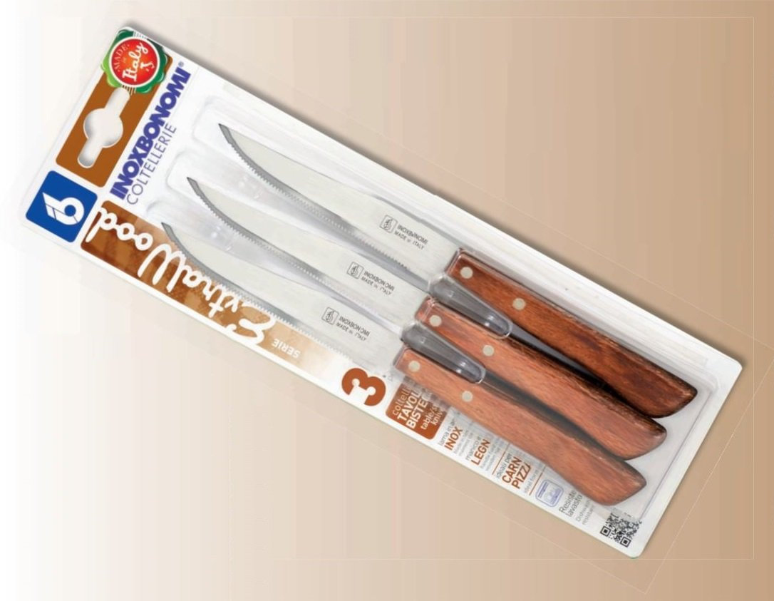 3 Steak Knives -Resinous Wooden Riveted Handle- talian Stainless Steel Kitchen/Pizza Knife Cutlery