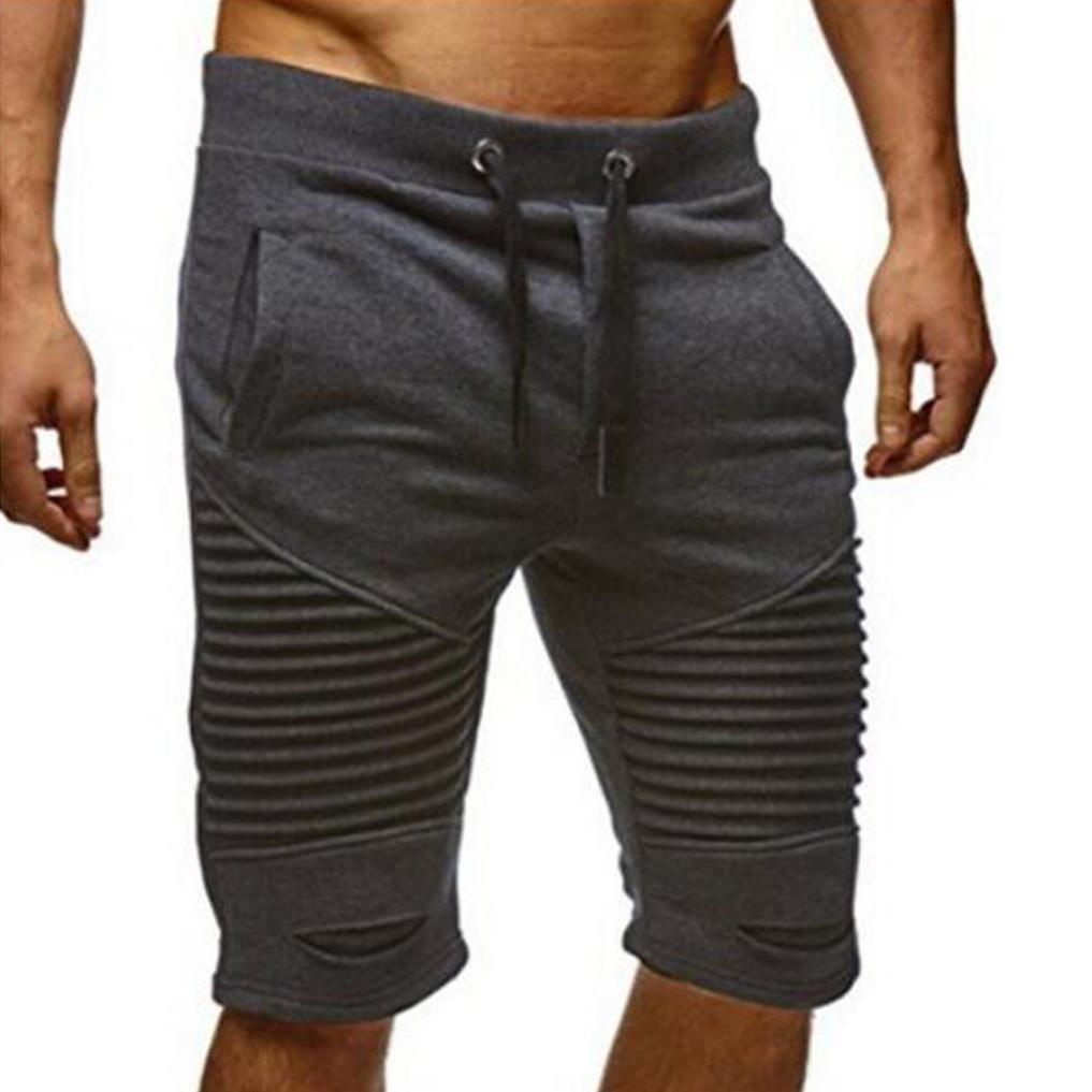 PHOTNO Summer Beach Pants Men Casual Sport Ripped Jeans Pants Shorts Jogging Pants (M, Gray - B)