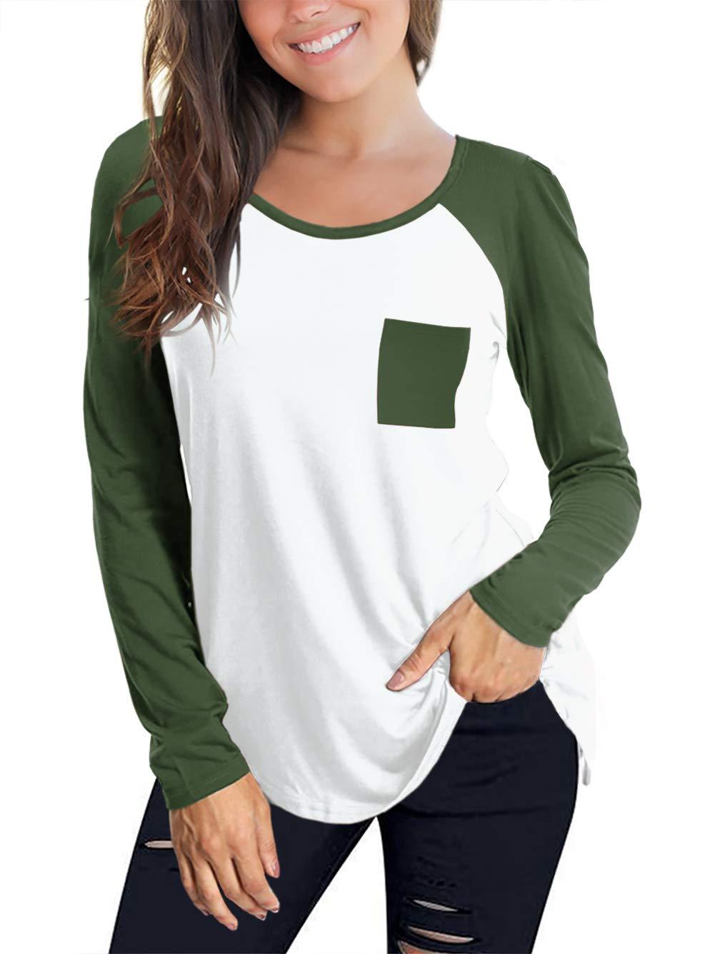 2f5142dd48f Amoretu Womens Long Sleeve Raglan Baseball T-Shirt Plus Size Army Green XL