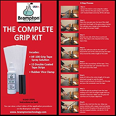 Brampton Complete Grip Kit for Golf Club Regripping – Includes 15 Tape Strips, Rubber Vice Clamp, and 4oz Solvent w/ Sprayer