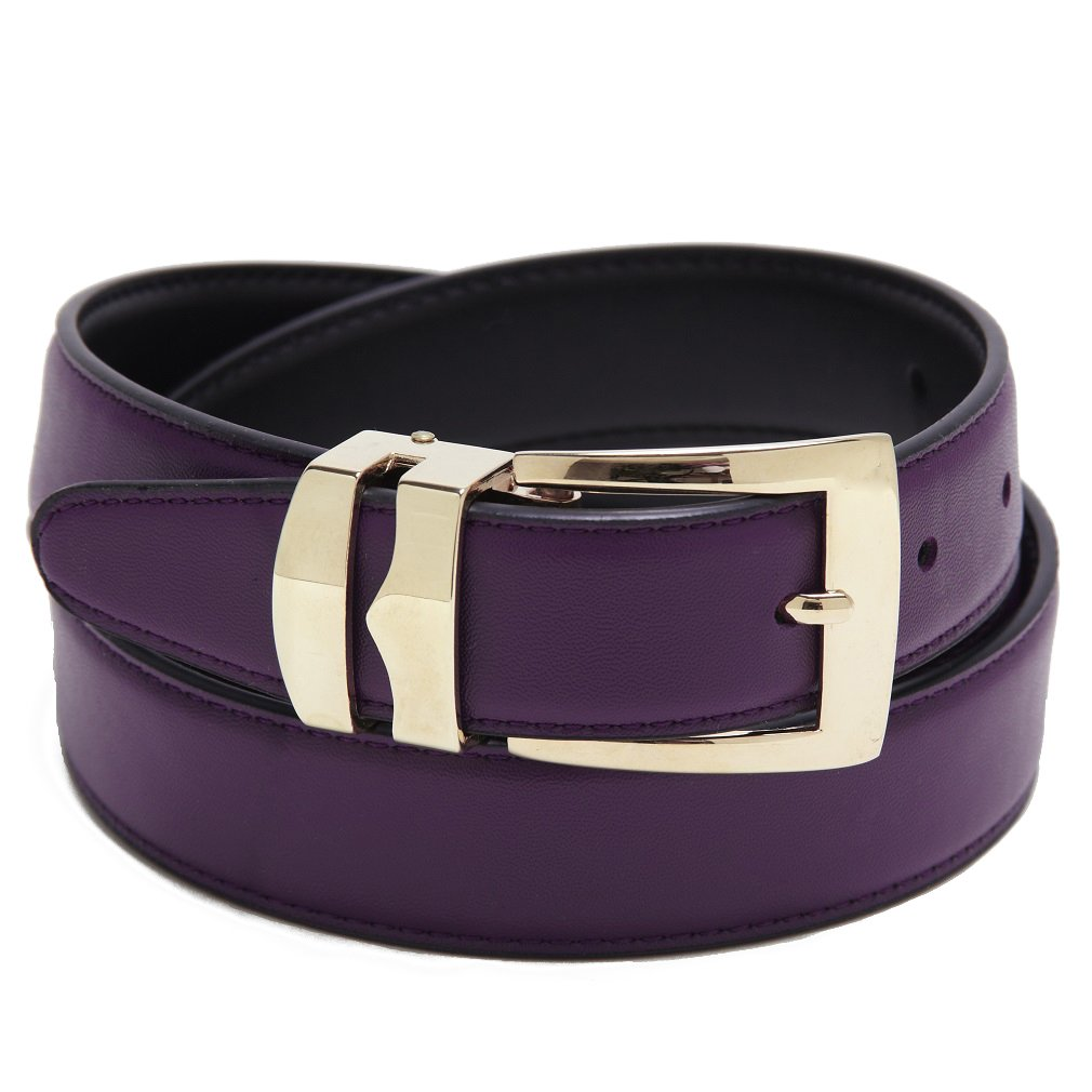 Reversible Belt Bonded Leather with Removable Gold-Tone Buckle PURPLE//Black