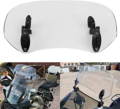 Adjustable Clip On Windshield Extension Spoiler Deflector Motorcycle Clear