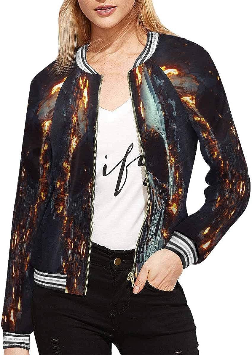 INTERESTPRINT Womens Fire Skull Baseball Jacket Coat