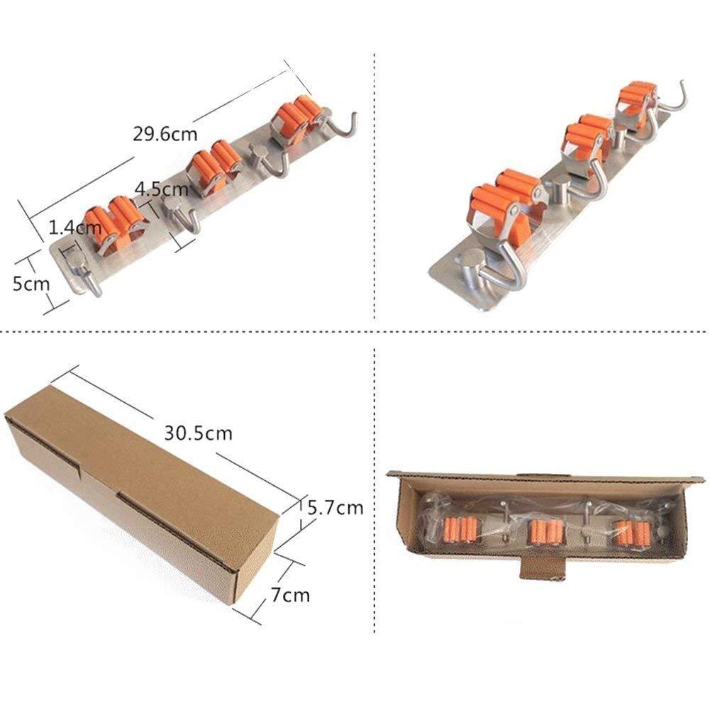Doyime Wand montiert Mop Doppel Organizer Halter Pinsel Besen Aufh?nger Aufbewahrung Rack K/üche Werkzeug(1pc)