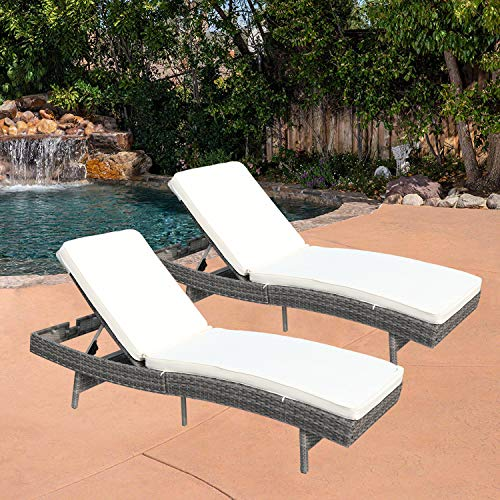 Do4U Outdoor Chaise Lounge - Easy to Assemble - Thick & Comfy Cushion Wicker Lounge Chairs -2 Pices Chaise Lounge Chair Set- Light Grey Rattan with Beige Cushion (7557-DRGY-2 Set)