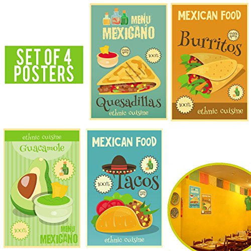 Bark Painting Mexican (Limited edition: MEXICAN DECOR Set of Four 11x17 - Mexican Restaurant Decor, Food Decoration - Perfect Mexican Party Decorations - Funny Mexican Kitchen Decor.)