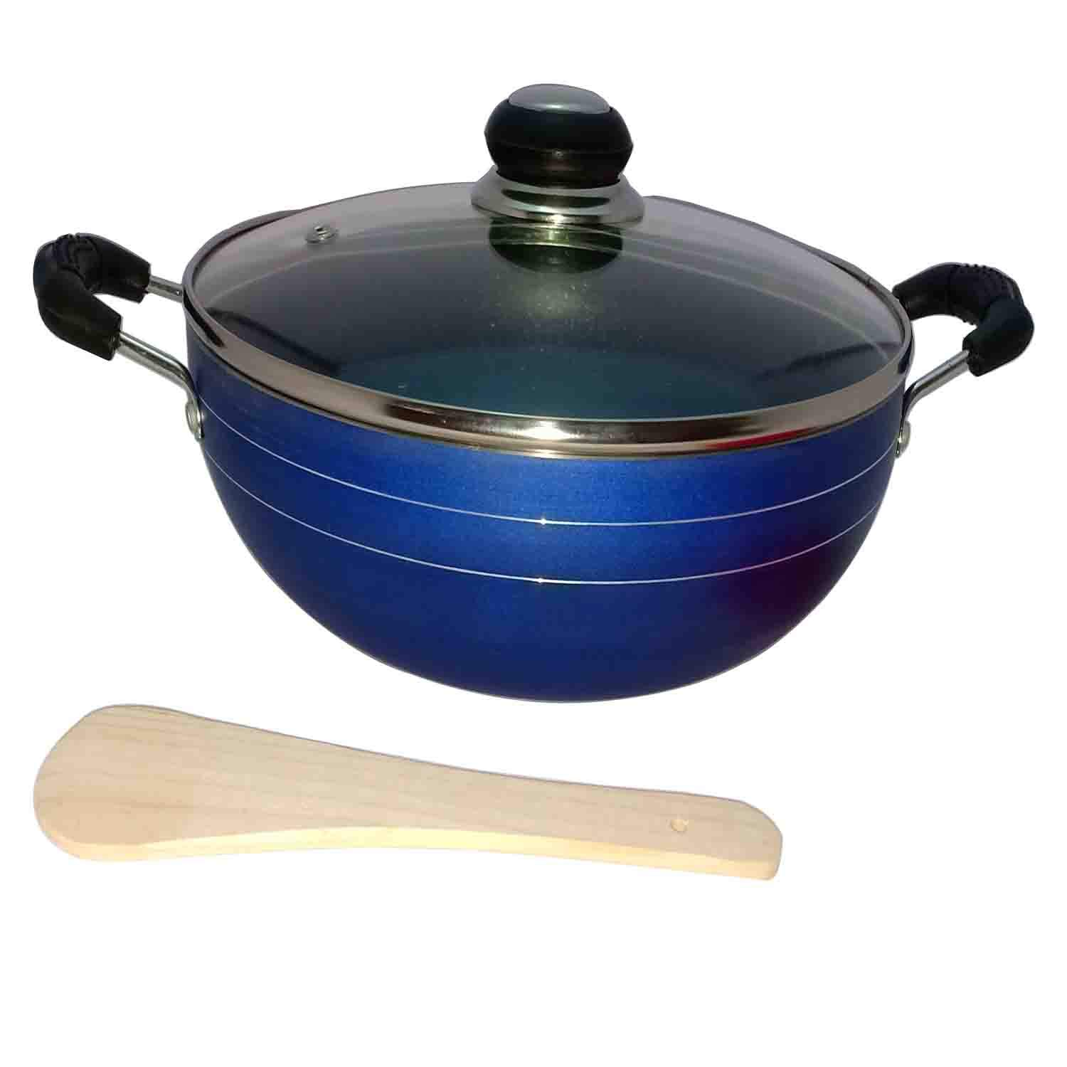 Hard Anodized Deep Kadai Non-Stick Aluminium Kadhai Deep Fry Pan Nonstick 2.2 Litre Kadhai with Glass Lid 240 mm (Induction and Gas Compatible) by GD (Image #7)