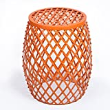 Cheap HOMEBEEZ Home Garden Accents Wire Round Iron Metal Stripes Stool Side End Table Plant Stand, Hatched Diamond Pattern (Orange)