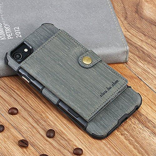 Funda iPhone 7 , iPhone 8 Carcasa, Sunroyal 2 en 1 Magnética Cremallera Wallet Luxury Vintage Suave [Función de soporte] [Shock-Absorption] Soporte del Inteligente Coche Ranuras para Tarjetas y Billet gris