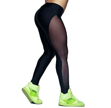 74f3682a17 Tongshi Pantalones de yoga con malla para mujer  Amazon.es  Deportes y aire  libre