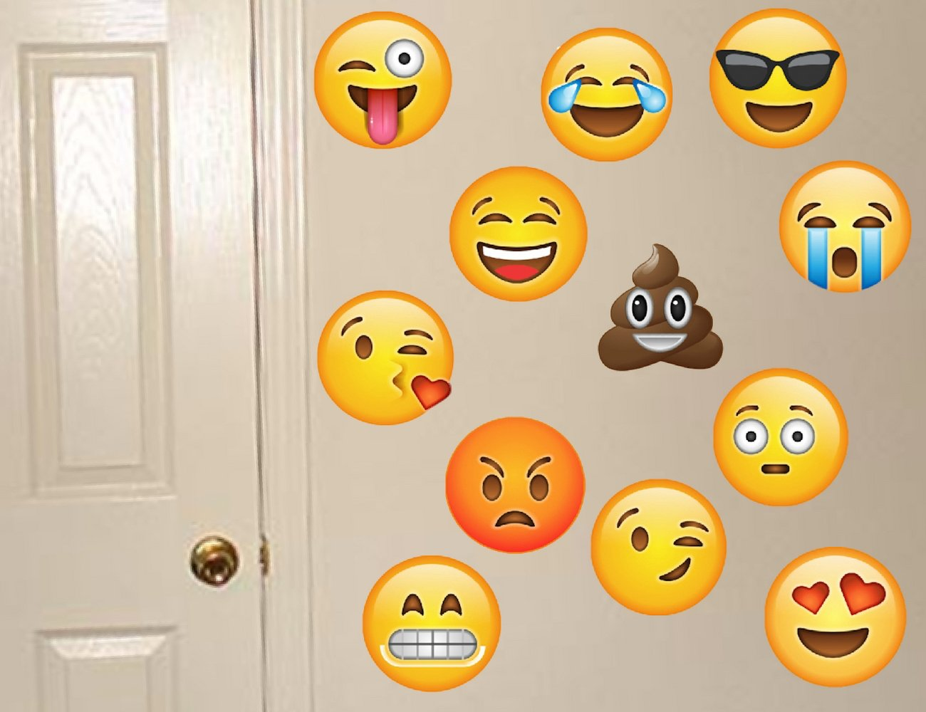 Emoji Wall Decals - Removable Reusable Peel & Stick - 12 Large ...