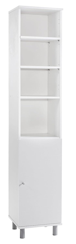 WILMES 85004-75 0 75 Badmöbel, Hochschrank, Badezimmerschrank Holz, Weiß Melamin Dekor, 32 x 35 x 179 cm