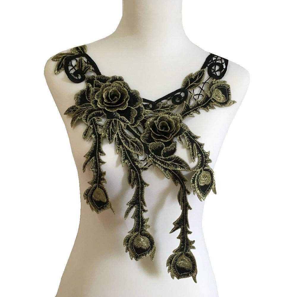 Style E Gold Embroidered Lace Neckline Collar Warm Tones Floral Brown Leaf Applique Patches Scrapbooking Embossed Sewing