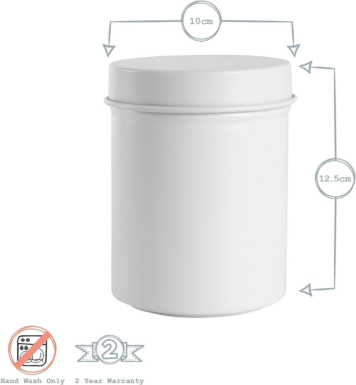 Harbour Housewares Az/úcar de almacenamiento del frasco de la vendimia Metal Jar Ronda de cierre herm/ético blanco mate