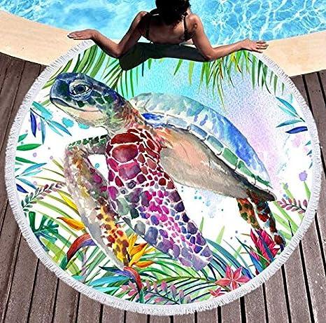 DJSK Tortuga de mar Tropical Toalla de Playa Redonda Grande ...