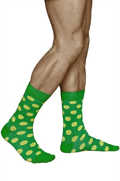 vitsocks Calcetines Verdes con Puntos Amarillos Hombre ALGODÓN Funky Lunares, Joy, 39-42: Amazon.es: Ropa y accesorios