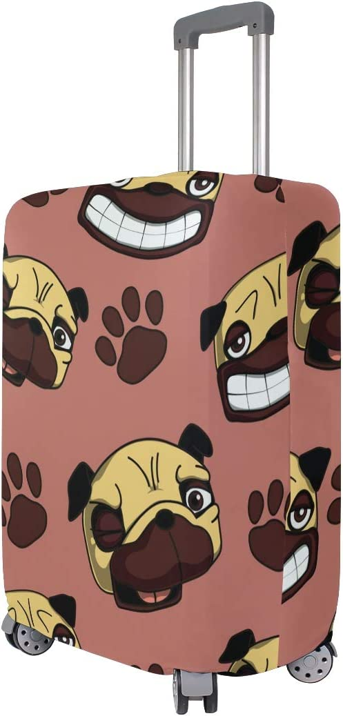 Travel Luggage Cover Pug Dog Head Paw Coral Background Suitcase Protector