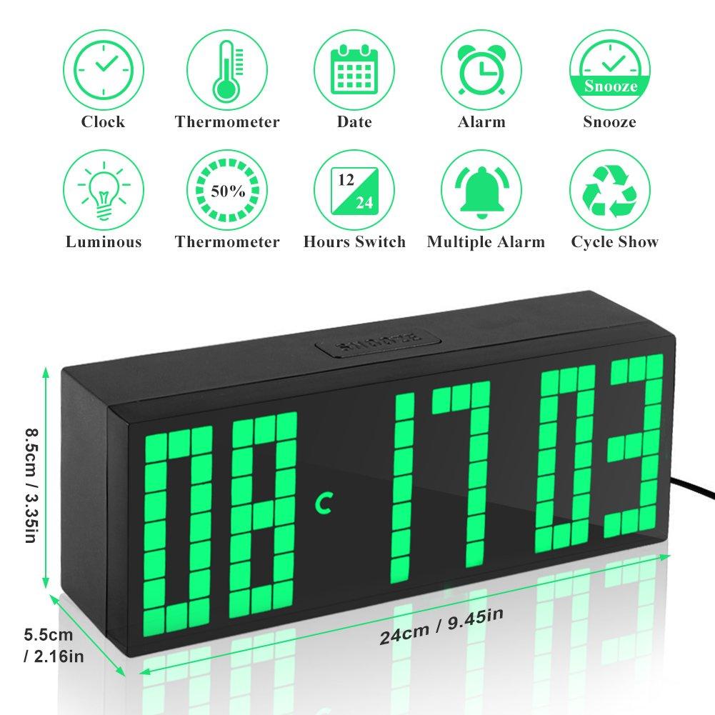 Yosoo Reloj Grande LED Alarma Tiempo Relojes Digital Cuenta Atrás ...