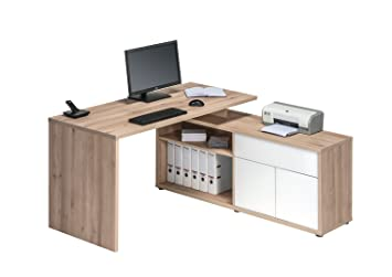 Matelpro bureau dangle contemporain coloris hêtre blanc brillant