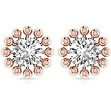 Custom 0.25 Carat IGI Certified Diamond Solitaire Earring, Solid 14k Gold Beaded Halo Vintage Earring, Women Birthday Anniver