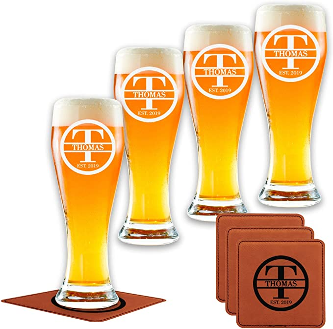 Amazon Com Personalized Pilsner Glasses Set Of 4 Premium Made In Usa Glasses Customized The Way You Want Cool Present For Men Women Young Old Friends Couples