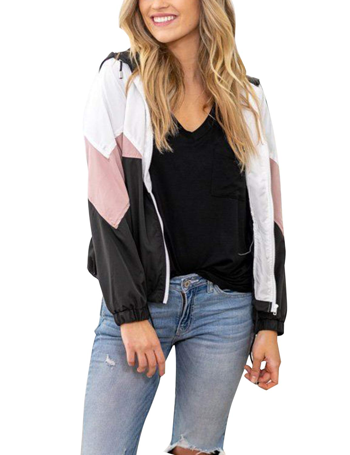 Blooming Jelly Womens Long Sleeve Color Block Zipper Raincoat Windbreaker
