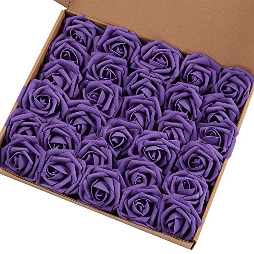 Marry Acting Artificial Flower Rose, 30pcs Real Touch Artificial Roses for DIY Bouquets Wedding Party Baby Shower Home Decor (Purple)