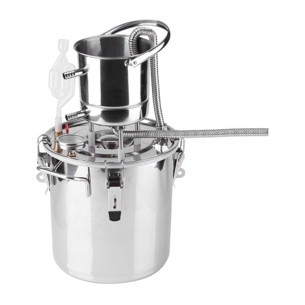 Asixx Alkohol Distiller, Hause Brew Boiler Weinherstellung Kit aus Edelstahl und Reinkupfer für Weine wie Brandy, Whiskey, Obstbrand usw (10/ 20L)(20L)
