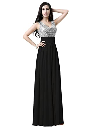 Amazon.com: Sequin Top Long Bridesmaid Dresses Chiffon Maxi Prom ...