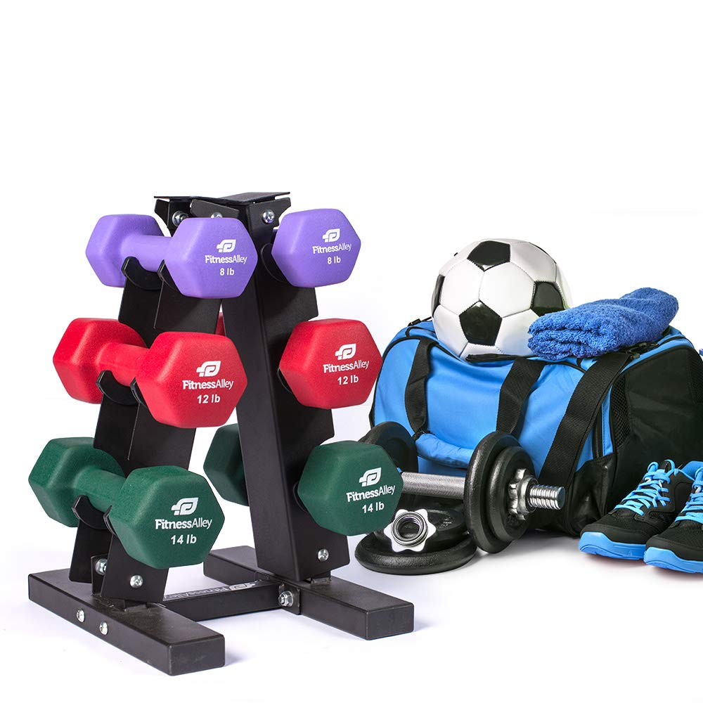 Fitness Alley Steel Dumbbell Rack - 3 Tier Weight Holder & 3 Tier Weight Rack Dumbbell Stand - Dumbbell Holder - Dumbbell Rack Stand - Weight Racks for Dumbbells of All Sizes by Fitness Alley (Image #6)