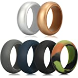 Silicone Wedding Ring for Men, Homar Silicone Rubber Bands Ring 6 Colors with Metal Silver and Metal Gold, Camouflage, Grey, Black, Dark Blue Fit for Sports and Outdoors