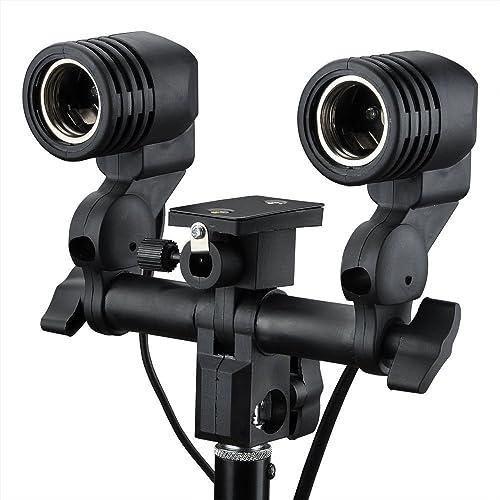 SHOPEE E27 Double Light Socket with Light Stand Swivel Mount & Umbrella Holder for Photography, Film, & Video Studio