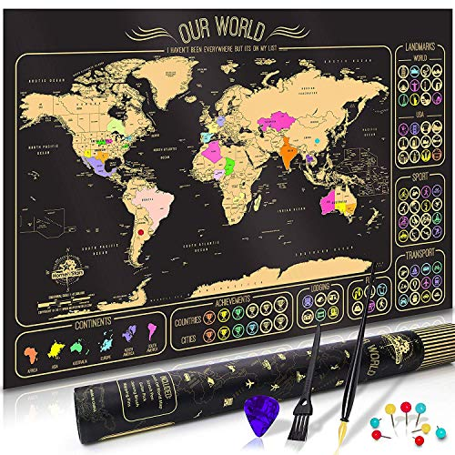 Scratch Off Map of the World - World Scratch Off Travel Map Poster - Vibrant Colors Outlined US States Premium Deluxe Quality Map in Designer Gift Box with Scratching Tools -
