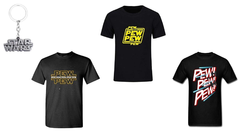 ba83f74d6 Amazon.com: Tresbon Products Star Wars Pew Pew Geek Funny Nerd T Shirt  w/Free Star Wars Keychain: Clothing