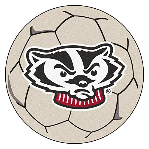 NCAA University of Wisconsin Badgers Soccer Ball Mat Round Area Rug
