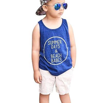 0-5T Toddler Kid Outfits Set - Baby Boys Clothes Letter Print Vest T-shirt + Short Pants (0/1T, Blue)